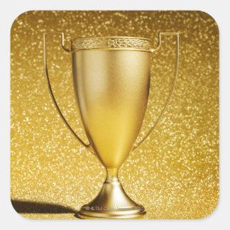Trofeo de la taza del oro calcomania cuadradas personalizadas