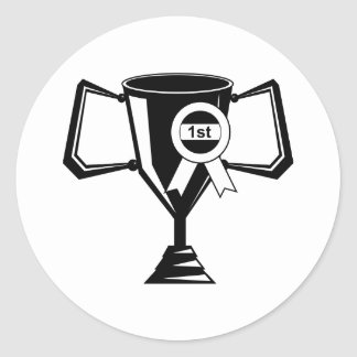 Trofeo de los ganadores etiqueta redonda