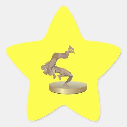 Trofeo de lucha calcomanías forma de estrellaes