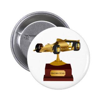 Trofeo de oro del coche de carreras pin redondo de 2 pulgadas