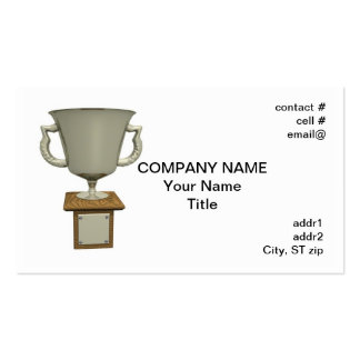 trofeo de plata de la taza en la base de madera tarjetas de visita