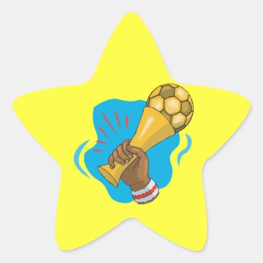 Trofeo del fútbol calcomanías forma de estrella
