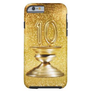 Trofeo del número 10 del oro funda de iPhone 6 tough