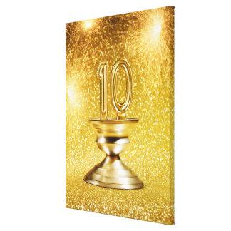 Trofeo del número 10 del oro lienzo envuelto para galerías
