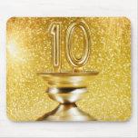 Trofeo del número 10 del oro tapete de ratones
