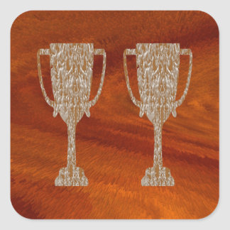 TROFEO del oro: Celebración de la recompensa del p Calcomanía Cuadradas Personalizada