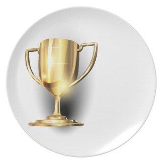 Trofeo del oro plato de comida