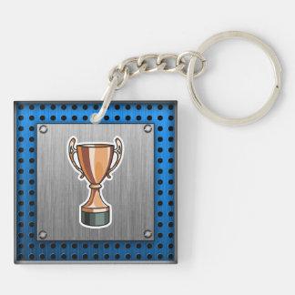 Trofeo; Metal-mirada cepillada Llavero Cuadrado Acrílico A Doble Cara
