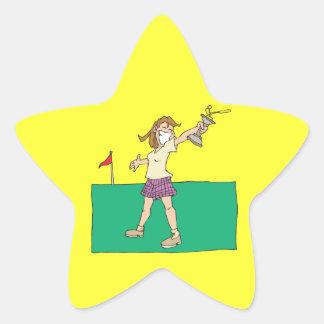 Trofeo para mujer del golf calcomanías forma de estrellas