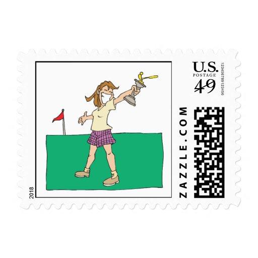 Trofeo para mujer del golf sellos