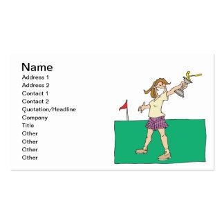 Trofeo para mujer del golf tarjetas de visita