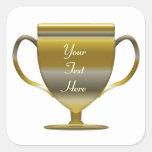 Trofeo Personlised del oro Pegatinas Cuadradas Personalizadas