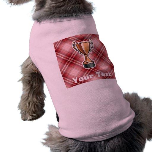 Trofeo rojo de la tela escocesa playera sin mangas para perro
