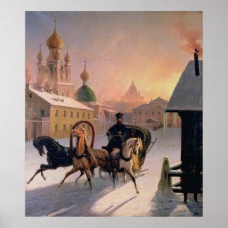 Troika en la calle en St Petersburg, 1850s Póster