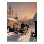 Troika en la calle en St Petersburg, 1850s Tarjetas Postales