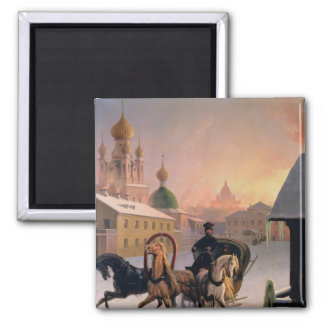 Troika on the Street in St. Petersburg, 1850s 2 Inch Square Magnet