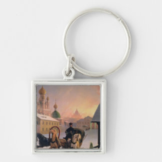 Troika on the Street in St. Petersburg, 1850s Keychain