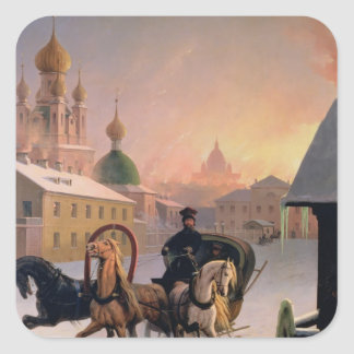 Troika on the Street in St. Petersburg, 1850s Square Sticker
