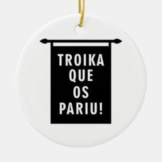 Troika Que os Pariu Double-Sided Ceramic Round Christmas Ornament
