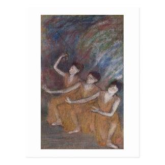 Trois Danseuses pastel on paper Post Card