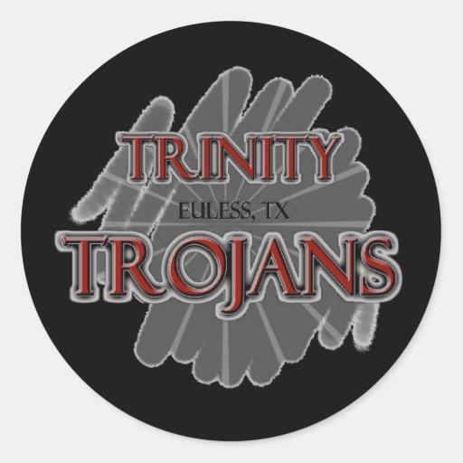Trojan de la High School secundaria de la trinidad Pegatina Redonda