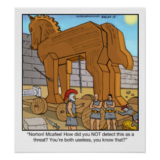 Trojan Horse divertido del cartel del dibujo Póster