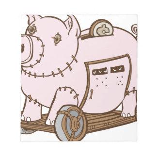 Trojan Horse Piggy Bank Cartoon Note Pad