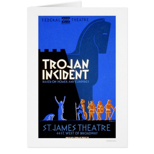Trojan Incident Homer 1937 WPA Greeting Card
