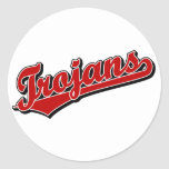 Trojans in Red Classic Round Sticker