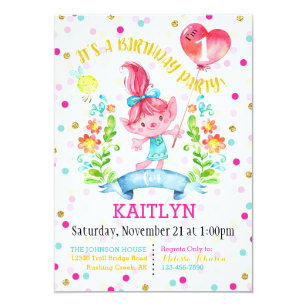 Troll Girl Flowers Balloon First Birthday Invitation