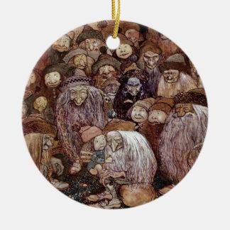 Troll Hugging Boy Gnome Ceramic Ornament