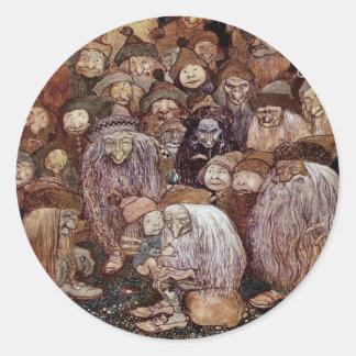 Troll Hugging Boy Gnome Classic Round Sticker
