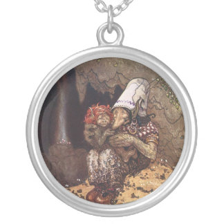 Troll Mother and Baby Round Pendant Necklace