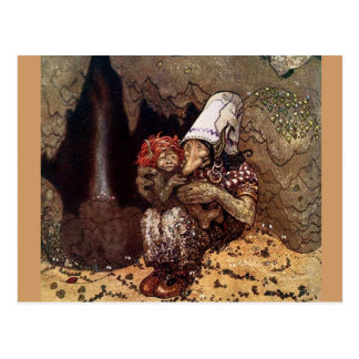 Troll Mother Beside a Campfire Postcard