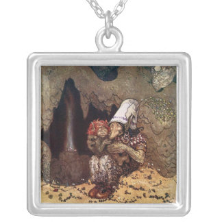 Troll Mother Beside a Campfire Silver Plated Necklace