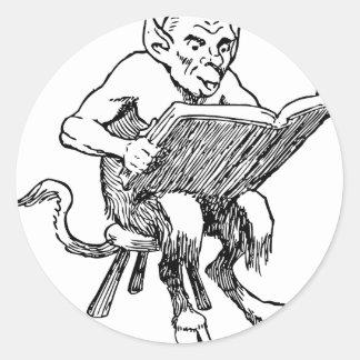 Troll reading classic round sticker