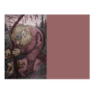 Troll Tearing Down Tree Postcard