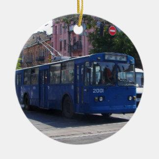 Trolley Bus Ceramic Ornament