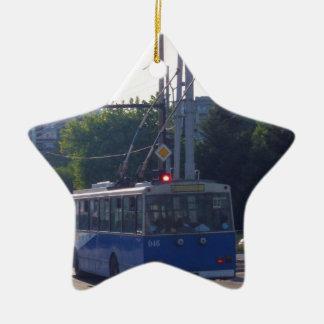 Trolley Bus In Bulgaria Ceramic Ornament