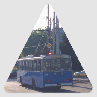 Trolley Bus In Bulgaria Triangle Sticker