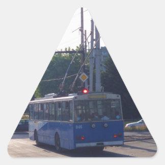 Trolley Bus In Bulgaria Triangle Sticker