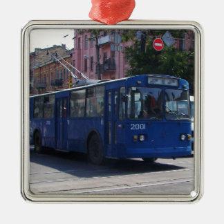 Trolley Bus Metal Ornament