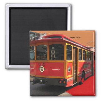 Trolley Bus Photo Mark 16:15 Christian bible verse Magnet