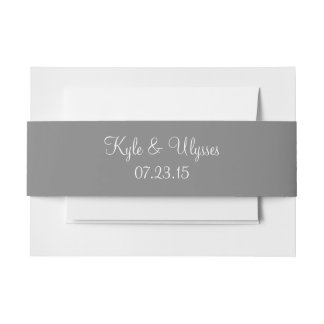 Trolley Grey High End Color Coordinating Invitation Belly Band
