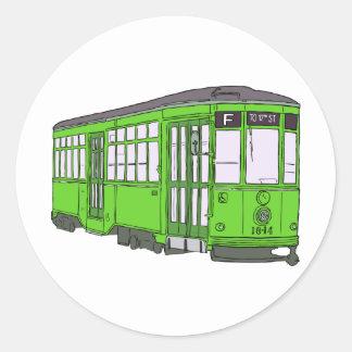 Trolley Trolleybus Streetcar Tram Trolleycar Cars Classic Round Sticker