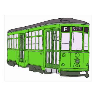 Trolley Trolleybus Streetcar Tram Trolleycar Cars Postcard