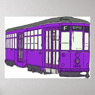Trolley Trolleybus Streetcar Tram Trolleycar Cars Poster