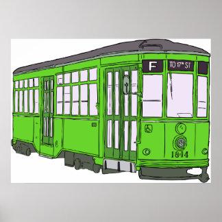 Trolley Trolleybus Streetcar Tram Trolleycar Cars Print