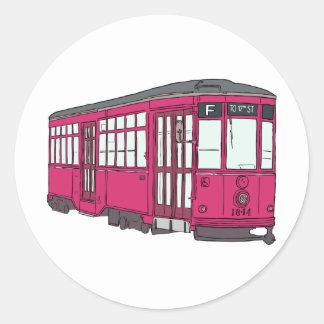 Trolley Trolleybus Streetcar Tram Trolleycar Cars Round Sticker