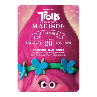 Trolls Poppy Birthday Invitation